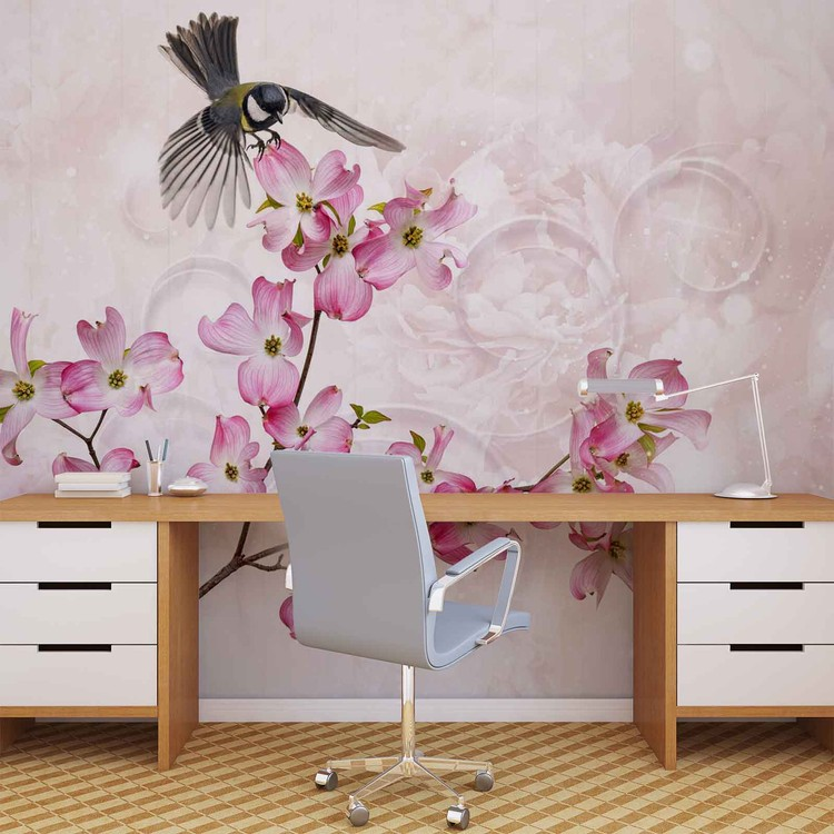 Carta da parati fiori uccelli for Carta parati fiori
