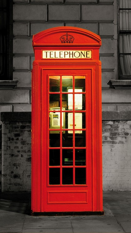 Carta da parati londra la cabina telefonica rossa for Carta da parati damascata rossa