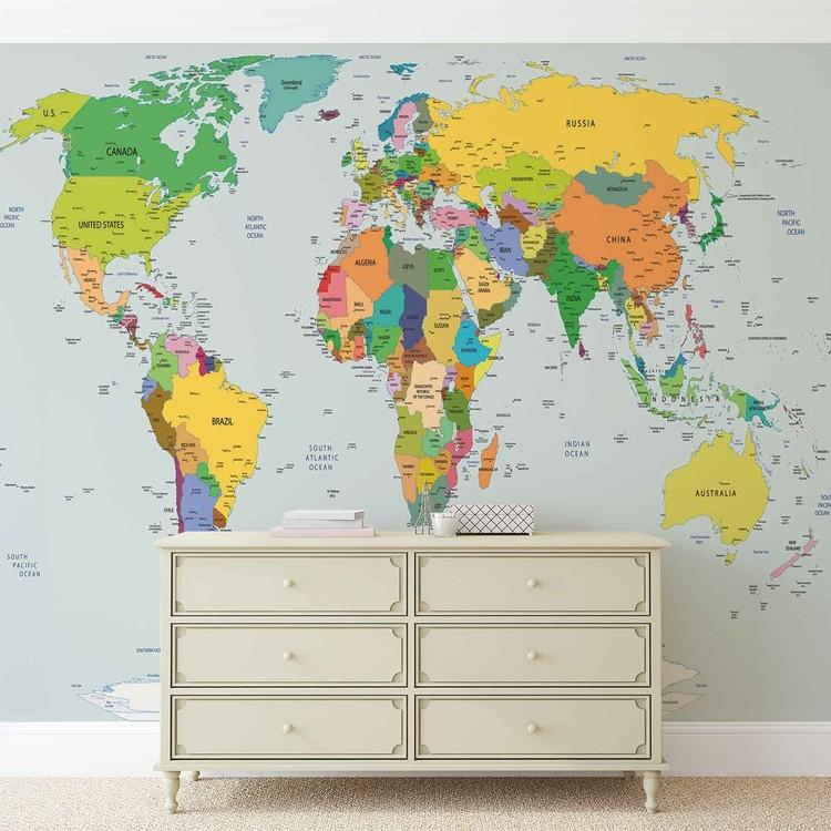 Carta da parati mappa del mondo for Carta da parati cartina geografica