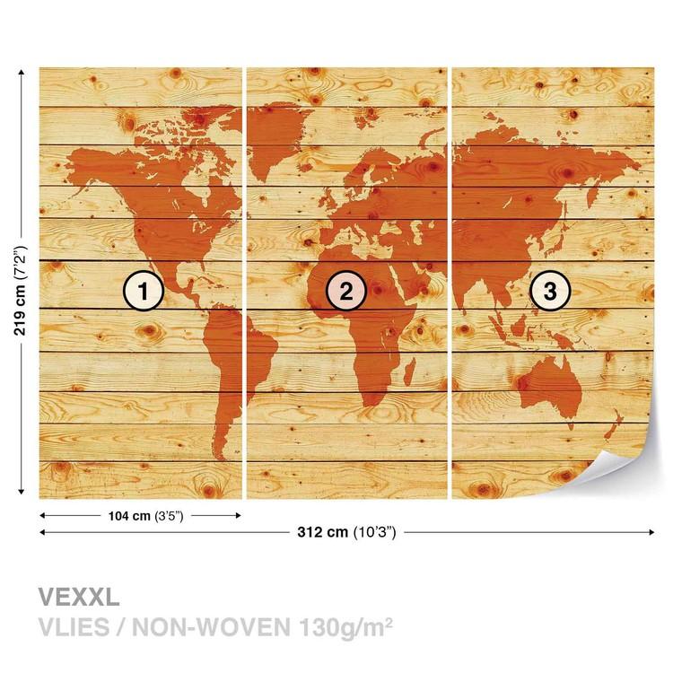 Carta da parati mappa del mondo assi legno for Carta parati mondo