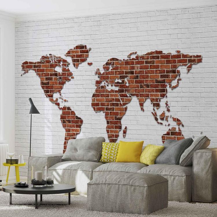 Carta da parati mappa del mondo muro di mattoni for Carta da parati muro mattoni