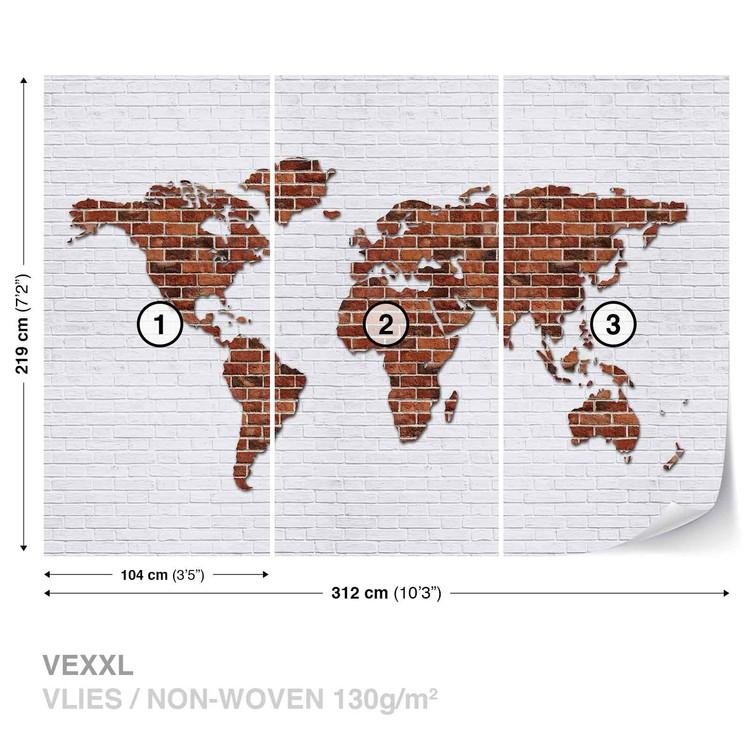 Carta da parati mappa del mondo muro di mattoni for Carta da parati muro di mattoni