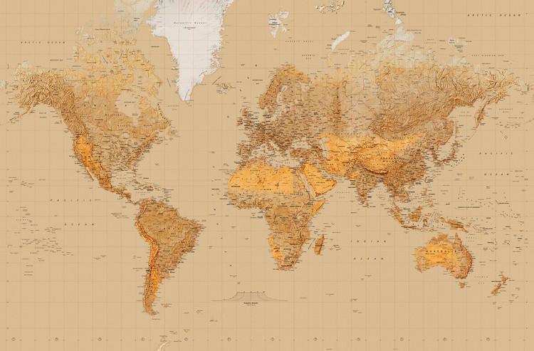 Carta da parati mappa del mondo stile antico for Carta parati mondo