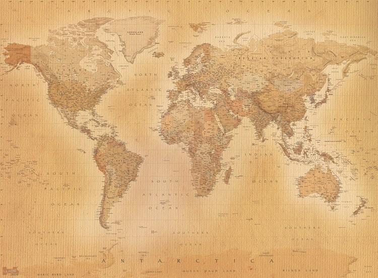 carta da parati mappa del mondo stile antico