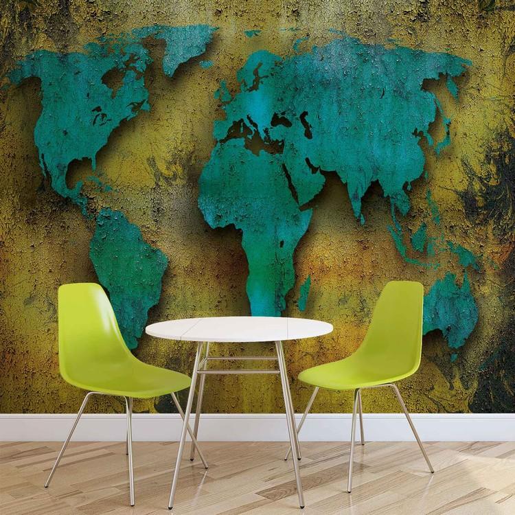 Carta da parati mappa del mondo su legno for Carta parati mondo