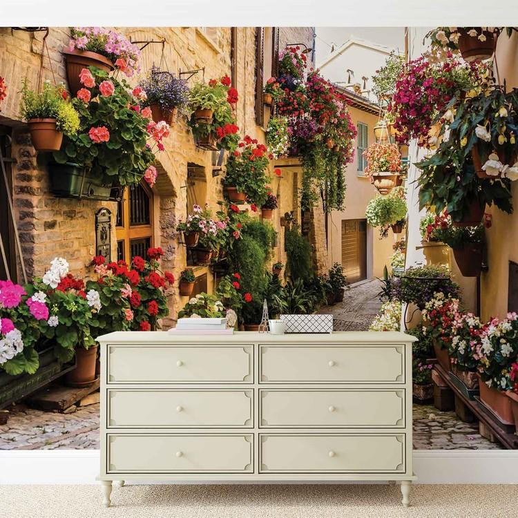 Carta da parati mediterraneo con fiori for Carta da parati con fiori