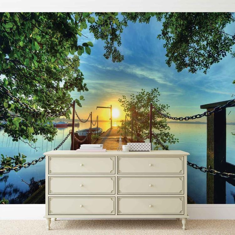 Carta da parati molo alberi barche tramonto for Carta da parati alberi stilizzati