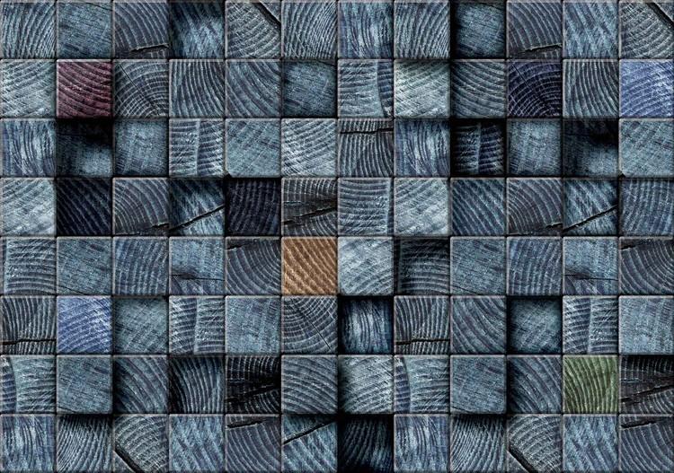 Carta da parati motivo blocchi di legno grigio scuro for Carta da parati tipo legno