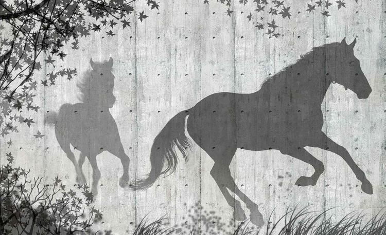 Carta da parati muro con sagome cavalli e foglie for Carta da parati muro