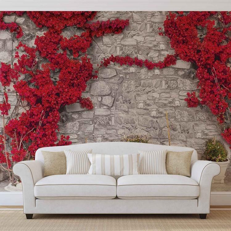 Carta da parati muro di pietra con fiori rossi for Carta parati finto muro