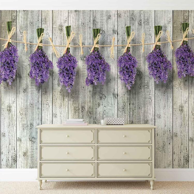 Carta da parati muro in legno fiori lavanda for Carta da parati 3d fiori