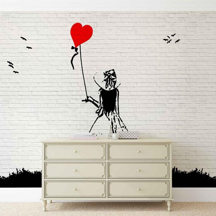 Carta da parati muro mattoni bambina palloncino cuore for Carta da parati muro di mattoni