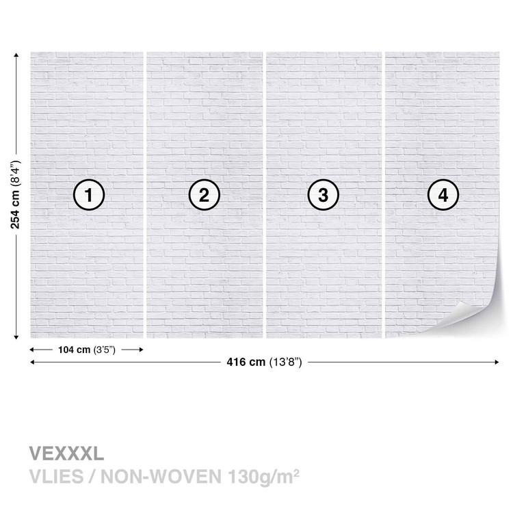 Carta da parati muro mattoni bianco for Carta da parati adesiva mattoni