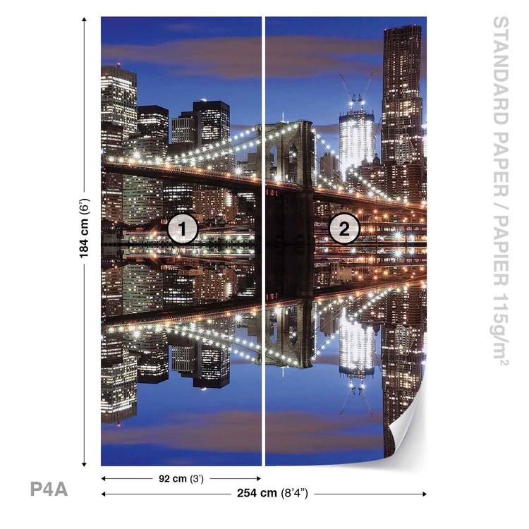 Carta da parati new york ponte di brooklyn notte for Carta da parati new york ebay