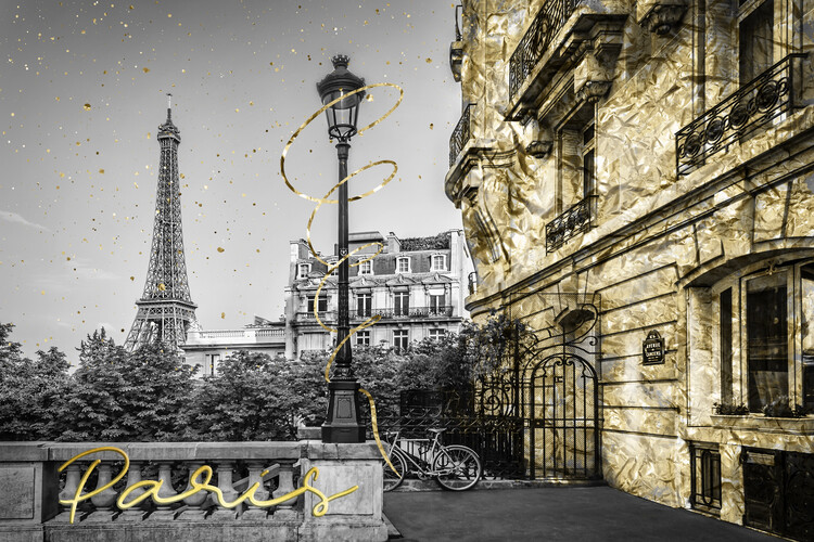 Carta da parati Parisian Charm | golden