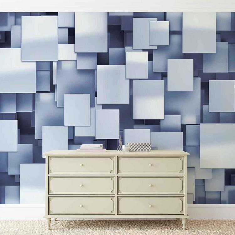 Carta da parati quadrati astratti moderno blu for Carta parati blu