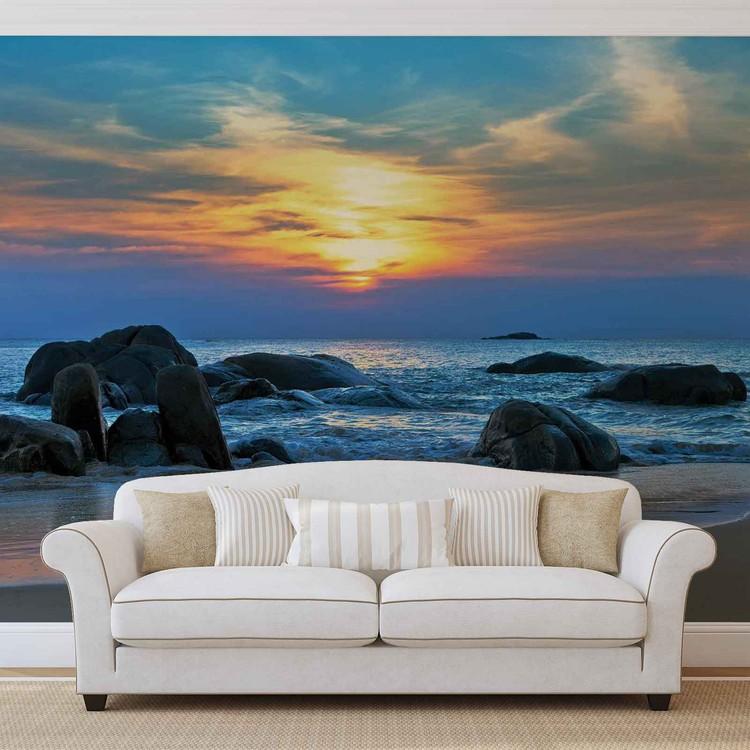Carta da parati spiaggia rocce mare sole tramonto for Carta da parati casa mare