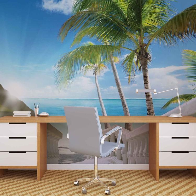 carta da parati spiaggia tropicale palme mare