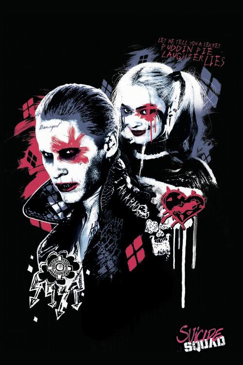 Carta da parati Suicide Squad - Harley e Joker
