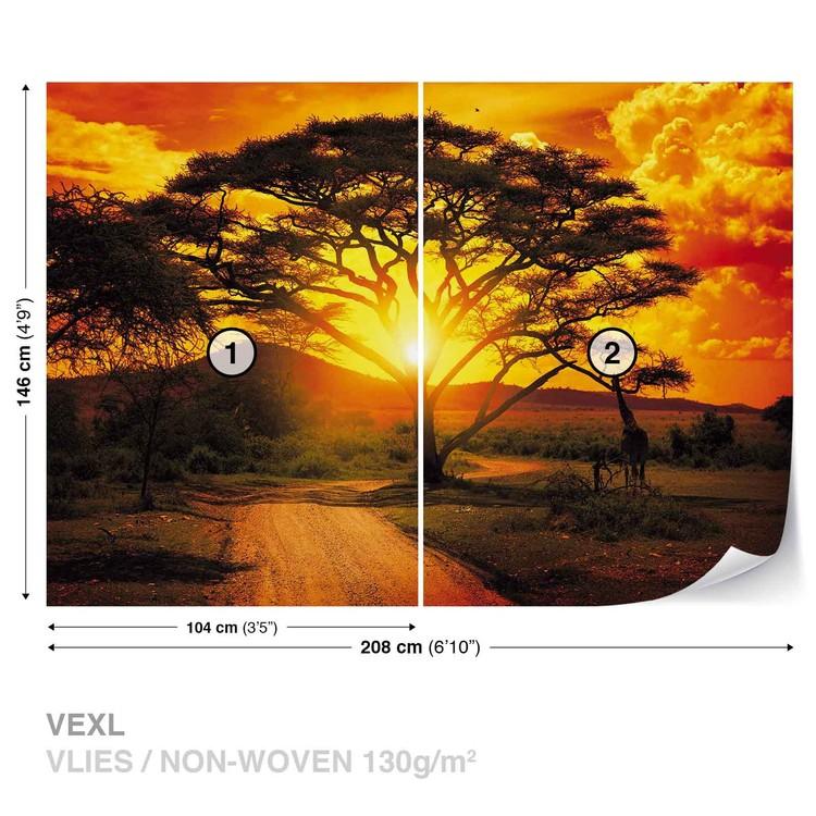 Carta da parati tramonto africano albero natura for Carta parati natura