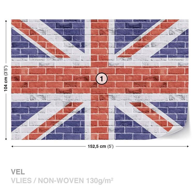 Carta da parati union jack muro mattoni for Carta da parati effetto muro mattoni