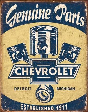 Cartel de metal CHEVY PARTS - Chevrolet Pistons