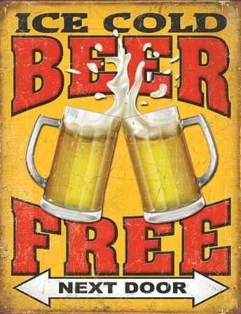 Cartel de metal Free Beer - Next Door