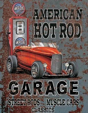 Cartel de metal LEGENDS - american hot rod
