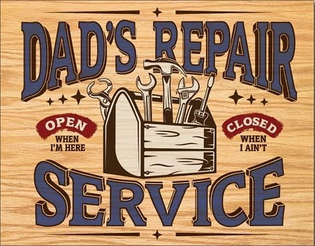 Dad's Repair Service Carteles de chapa