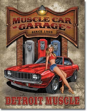 LEGENDS - muscle car garage Carteles de chapa