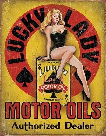 Lucky Lady - Motor Oil Carteles de chapa