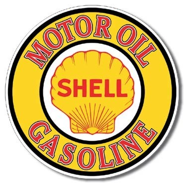 SHELL GAS AND OIL Carteles de chapa