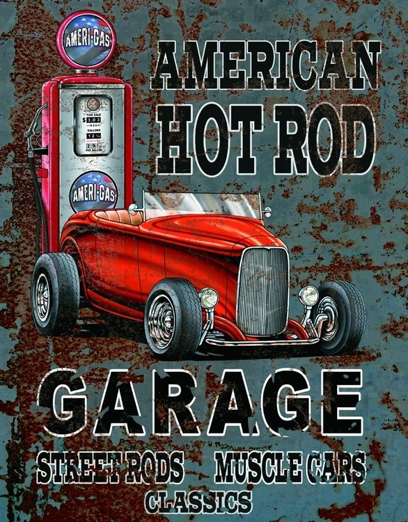 Cartelli Pubblicitari in Metallo AMERICAN HOT ROD