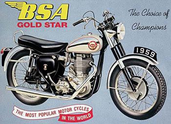 Cartelli Pubblicitari in Metallo BSA GOLDSTAR