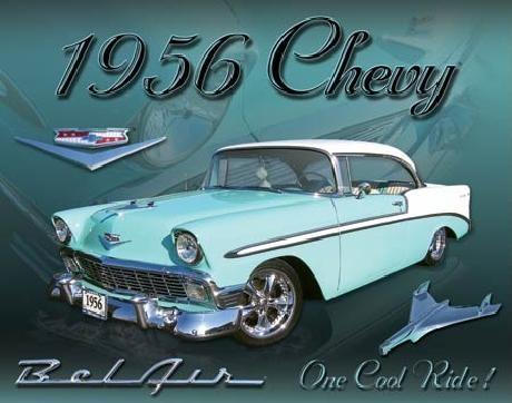 Cartelli Pubblicitari in Metallo CHEVY 1956 - bel air