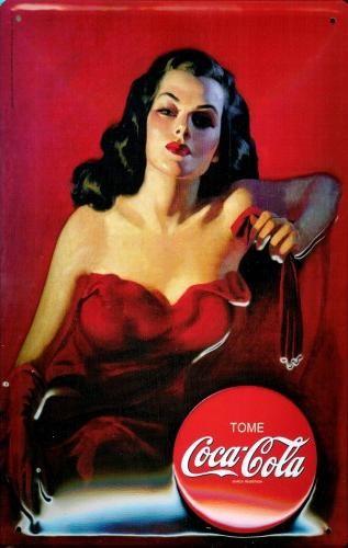 Cartelli Pubblicitari in Metallo COCA COLA - LADY IN RED 3D
