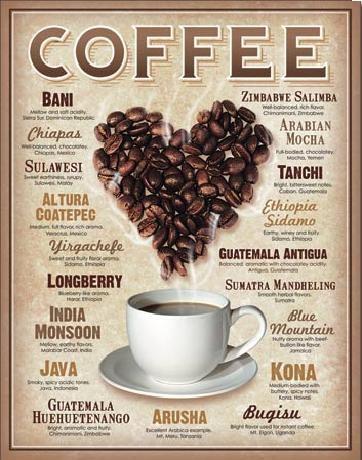 Cartelli Pubblicitari in Metallo COFFEE - Heart