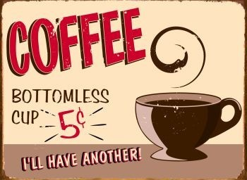 Cartelli Pubblicitari in Metallo COFFEE
