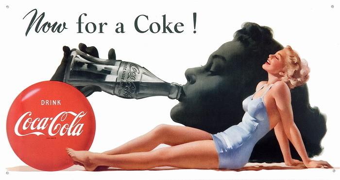 Cartelli Pubblicitari in Metallo COKE NOW FOR