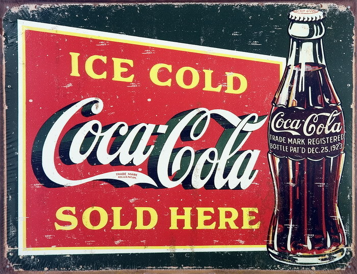 Super Cartelli Pubblicitari in Metallo COKE VINTAGE ICE COLD  AC23