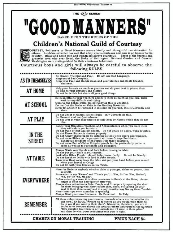 Cartelli Pubblicitari in Metallo GOOD MANNERS
