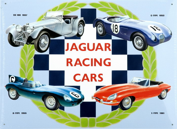 Cartelli Pubblicitari in Metallo JAGUAR RACING CARS COLLAGE