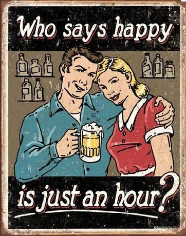 Cartelli Pubblicitari in Metallo SCHONBERG - BEER - Happy Hour