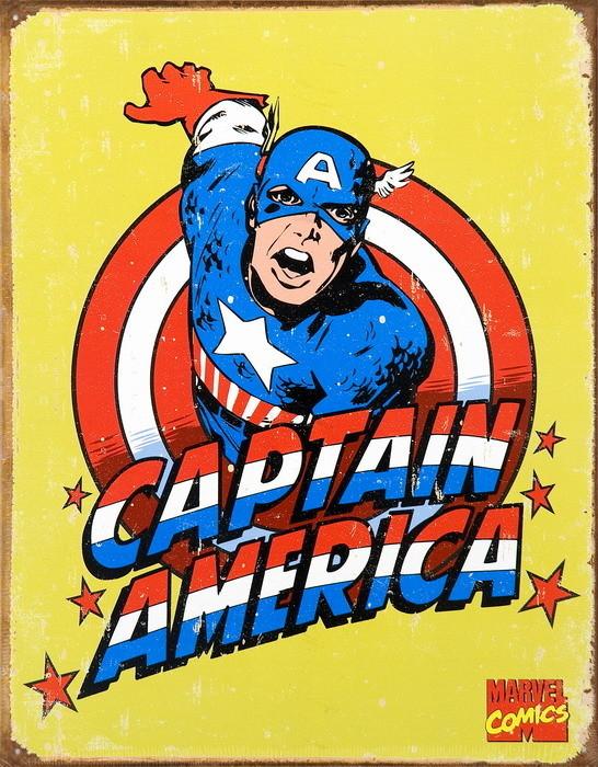 Cartelli Pubblicitari in Metallo VINTAGE CAPTAIN AMERICA