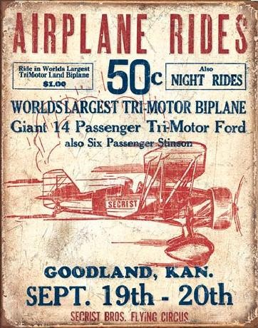 Cartello in metallo AIRPLANE - Secrist Flying Circus