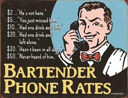 Cartello in metallo Bartender's Phone Rates