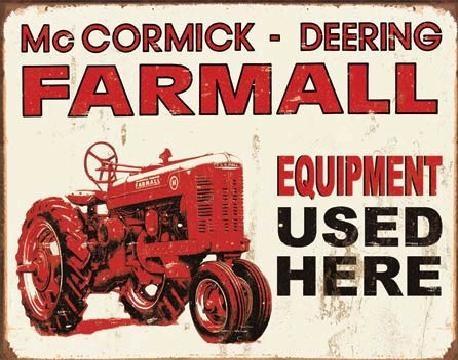 Cartello in metallo FARMALL - equip used here