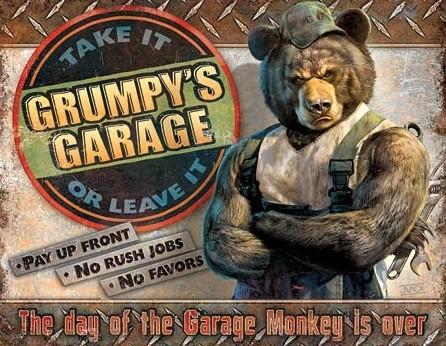Cartello in metallo Grumpy's Garage