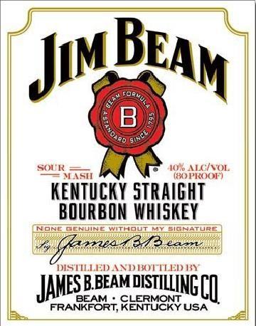 Cartello in metallo JIM BEAM - white label