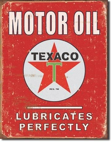 Cartello in metallo TEXACO - lubricates perfectly